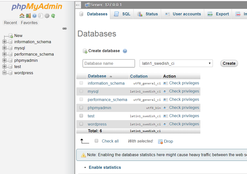 create database wordpress
