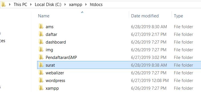 Folder Aplikasi Surat di htdocs
