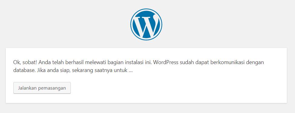 Setting Install WordPress Berhasil