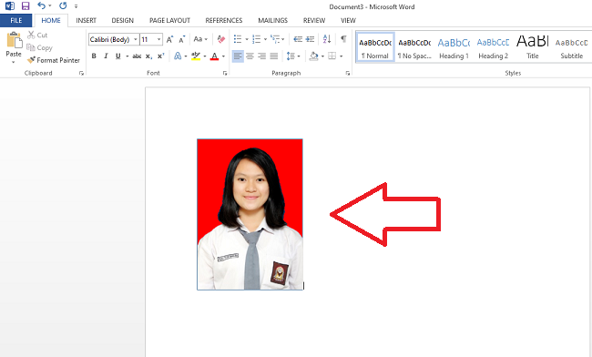 Gambar 5. background foto berhasil diganti ms word