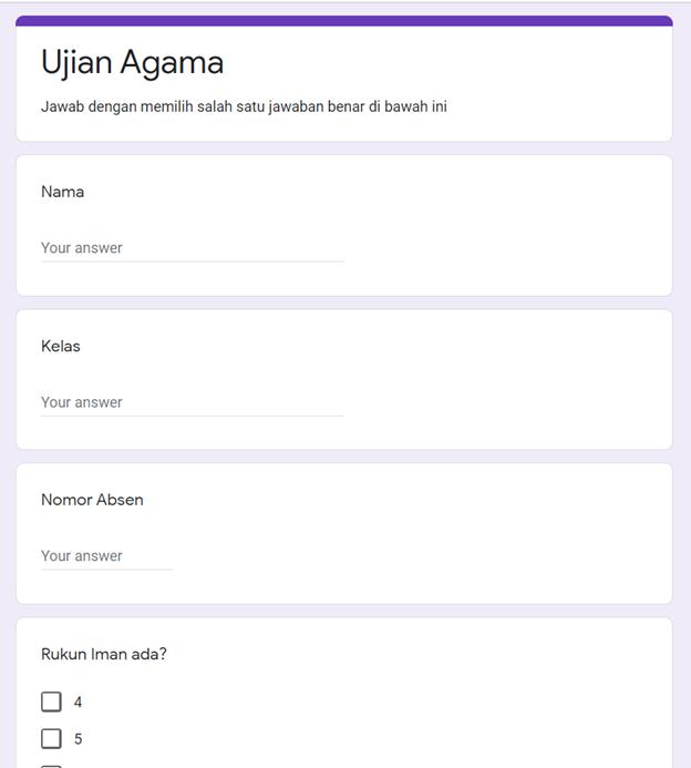 mengisi jawaban google form