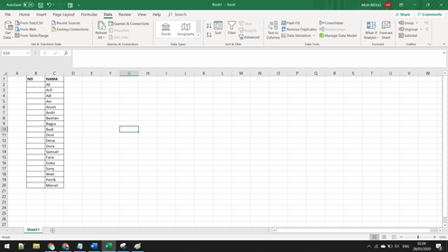Membuat data excel